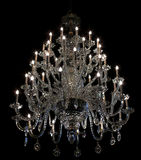 Brilliant baroque chandelier on black Stock Photography