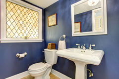 Brilliant bathroom with deep blue interior walls. Royalty Free Stock Images
