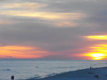 Brilliant beach sunset, Gulf Shores, Alabama. A brilliant, orange beach sunset. Gulf Shores, Alabama Royalty Free Stock Photos