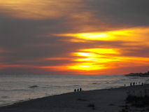 Brilliant beach sunset, Gulf Shores, Alabama Stock Images