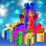 Brilliant blue background with gift and bow Stock Image