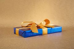 Brilliant blue gift box Royalty Free Stock Image