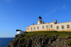 Brilliant Blue Skies Behind Neist Point Lighthouse in Scotland Royalty Free Stock Photos
