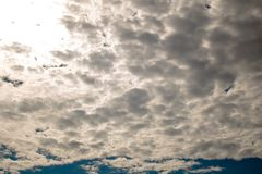 Brilliant Blue Sky With Detailed Clouds. A Beautiful Sunny Day With Detailed Clouds In The Sky royalty free stock photography