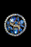Brilliant blue vintage brooch Royalty Free Stock Photography