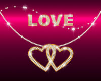 Brilliant chain with heart and word LOVE Royalty Free Stock Photography