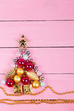 Brilliant christmas ornaments in the form of a fir Royalty Free Stock Images