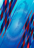 Brilliant colored stripes and stars on a blue back Royalty Free Stock Image