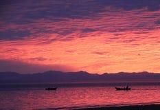 Fishing Boat Silhouettes in El Golfo de Santa Clara Sonora Sunset stock photos