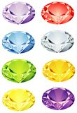 Brilliant cut stones. Assortment of colored gemstones but in the brilliant style. Common and rare stones represented vector illustration