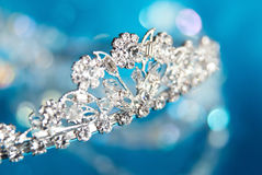 Brilliant diadem on a blue background Stock Image
