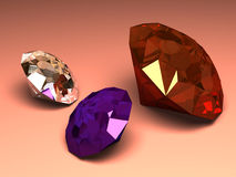 Brilliant diamond a jewelry. 3D three-dimensional model of a brilliant or diamond separately from a background Stock Images