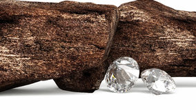 Brilliant diamonds and rocky boulders 3d illustration Royalty Free Stock Images