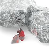 Brilliant diamonds and rocky boulders 3d illustration Royalty Free Stock Photo