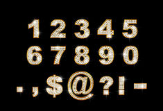 Brilliant digits and signs on dark background. 1 2 3 4 5 6 7 8 9 0 Royalty Free Stock Images