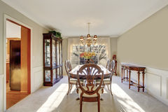 Brilliant dinning room with table and chairs. Royalty Free Stock Images