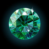 Brilliant emerald on a black background. Green crystal. Vector Royalty Free Stock Photo