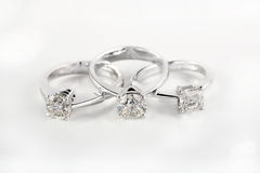 Brilliant engagement rings. White gold engagement rings with brilliants Stock Photography