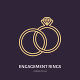 Brilliant engagement rings illustration.  Royalty Free Stock Photos