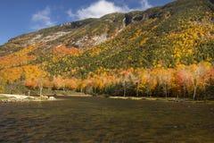 Brilliant fall foliage at Saco Lake in the White Mountains. Royalty Free Stock Photos
