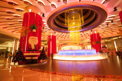 Brilliant fountain in Galaxy Macau casino. MACAU, CHINA - NOVEMBER 3, 2012: Brilliant musical fountain at the entrance to the casino Galaxy Macau. Macau is the Royalty Free Stock Photos
