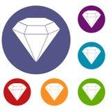 Brilliant gemstone icons set Royalty Free Stock Image