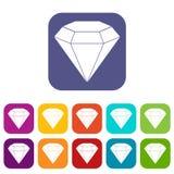 Brilliant gemstone icons set flat Royalty Free Stock Photos
