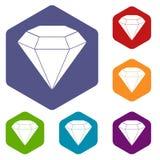 Brilliant gemstone icons set hexagon Stock Images