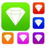 Brilliant gemstone set color collection. Brilliant gemstone set icon color in flat style isolated on white. Collection sings vector illustration Stock Photo