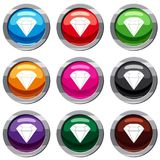 Brilliant gemstone set 9 collection Royalty Free Stock Photo