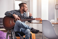 Brilliant gifted man working on a new track Stock Photo