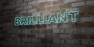 BRILLIANT - Glowing Neon Sign on stonework wall - 3D rendered royalty free stock illustration Stock Photography