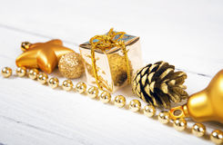 Brilliant gold baubles  like christmas decoration Royalty Free Stock Images