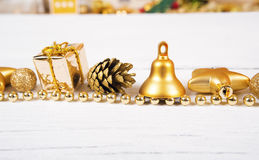 Brilliant gold baubles  like christmas decoration. Royalty Free Stock Images