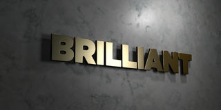 Brilliant - Gold text on black background - 3D rendered royalty free stock picture Stock Photography