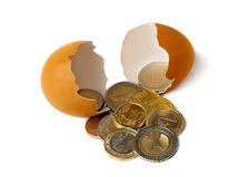 Brilliant golden coins hatched from the egg. Royalty Free Stock Photo