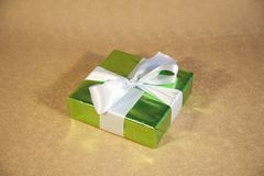 Brilliant green gift box Stock Images