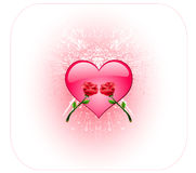 Brilliant heart and two roses Stock Photo