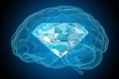 Brilliant idea concept. Diamond inside brain, 3D rendering. Brilliant idea concept. Diamond inside brain, 3D Royalty Free Stock Image