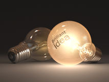 Brilliant Idea. Lamp lit with bright idea as to brand the lamp Royalty Free Stock Image