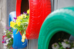 Brilliant idea for tires used as planters environmentally Stock Photo