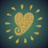 A brilliant jewelry gold glitter in the form of a hand drawn love heart symbol. Elegant decoration of gold round sequins Stock Photography