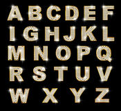 Brilliant latin letters on dark background