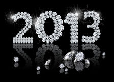 Brilliant New Year 2013. Is a diamond jewelry illustration on a black background Stock Images