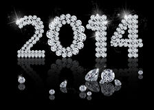 Brilliant New Year 2014. Is a diamond jewelry illustration on a black background Royalty Free Stock Photography