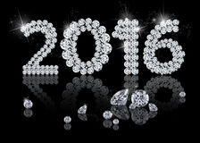 Brilliant New Year 2016. Is a diamond jewelry illustration on a black background Stock Photos