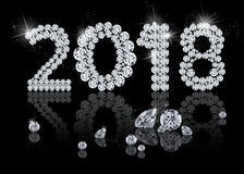 Brilliant New Year 2018. Noble, precious, elegant and luxury diamond jewelry illustration with sparkles on a black background Stock Image