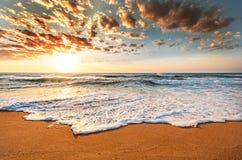 Brilliant ocean beach sunrise. Golden sky Stock Photos
