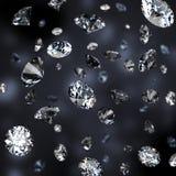 Brilliant rain. Diamond rain. Dark background. 3d image vector illustration