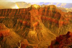 Brilliant Rainbow in Grand Canyon. Sublime Pt in Grand Canyon Royalty Free Stock Images